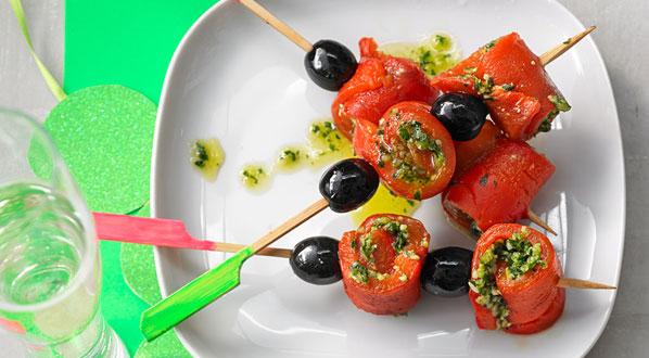 Olivenöl: Oliven-Paprika-Spieß