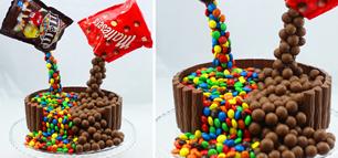 Gravity Cake mit M&Ms und Maltesers