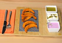 Kürbis-Sticks mit Dips - perfekt als Snack oder Vorspeise!