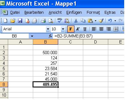 excel formel differenz