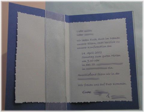konfirmations- einladungskarten basteln!!! | familie und kinder, Einladungsentwurf