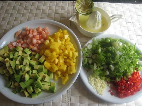 wolfsbarschfilets auf garnelen avocado mango salsa ein fischgericht in bildern fisch. Black Bedroom Furniture Sets. Home Design Ideas