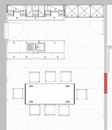 grundriss k che mit kochinsel und tisch. Black Bedroom Furniture Sets. Home Design Ideas