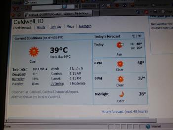 normale Temperaturen hier in July und August