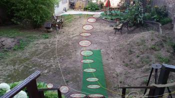 Mein Garten: von weisser Linie bis an die rechte Mauer= Da Nadelt die Lärche sehr stark, gelbe Linie bis an die rechte Mauer = Da ist die Sonne