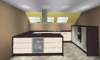 Küchen für dachschrägen  Claudie-B - 28.08.2007 - 4,28x3,7m offene Küche mit Dachschräge ...