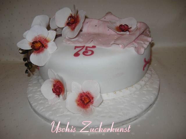edle orchideetorte mit rosa spitzentuch zum 75 geburtstag motivtorten fotos forum. Black Bedroom Furniture Sets. Home Design Ideas