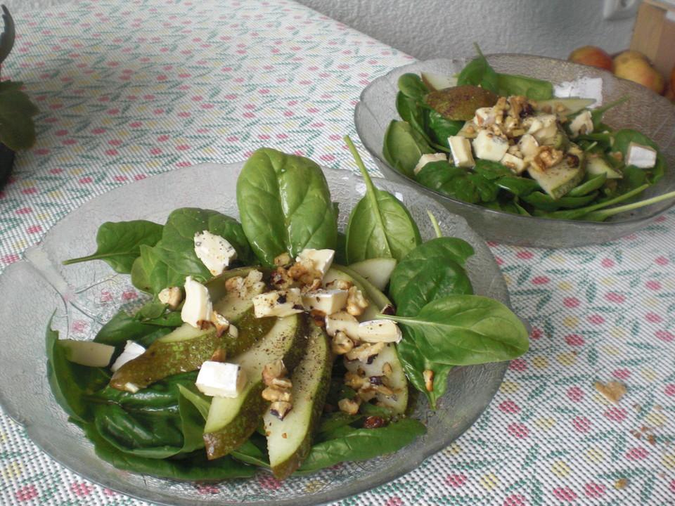 spinat salat mit birne und blauschimmelk se von glaserberl. Black Bedroom Furniture Sets. Home Design Ideas