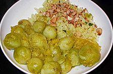 Rosenkohl-Orangen-Curry mit Reis