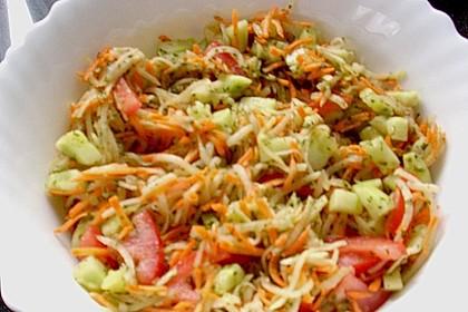 Kohlrabisalat mit Möhren, Gurken und Tomaten 13