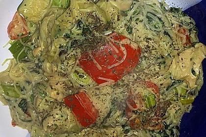 Glasnudeln mit Hühnerfleisch, Pilzen und Gemüse 8