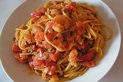 Spaghetti mit Krabben - Tomaten - Sahnesoße 3