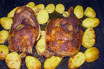 Brathähnchen mit Kräuterkartoffeln und Gorgonzola - Dip 10