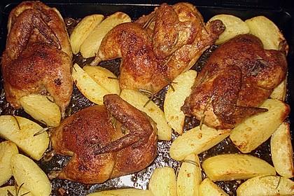 Brathähnchen mit Kräuterkartoffeln und Gorgonzola - Dip 11