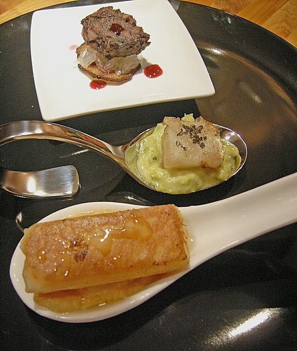 Nashi in Lardo, gebraten auf Süßkartoffel - Püree, Asche - Salz