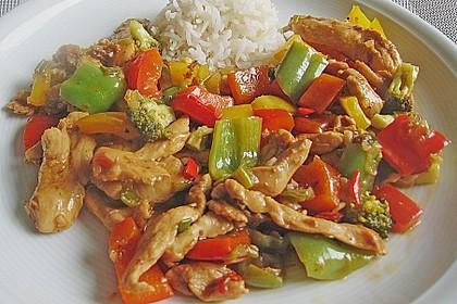 Hähnchenbrustgeschnetzeltes mit Paprika und Brokkoli aus dem Wok 1