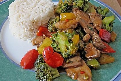 Hähnchenbrustgeschnetzeltes mit Paprika und Brokkoli aus dem Wok 4