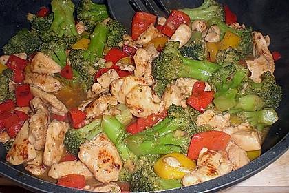 Hähnchenbrustgeschnetzeltes mit Paprika und Brokkoli aus dem Wok 11
