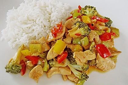 Hähnchenbrustgeschnetzeltes mit Paprika und Brokkoli aus dem Wok 2