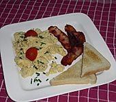 Käse - Rührei mit Speck