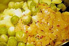 Rosenkohl - Kartoffeln mit Honig - Chili - Butter - Soße