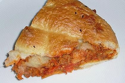 Fladenbrot mit Hackfleisch, im Ofen überbacken 2