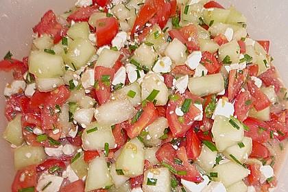 Tomatensalat mit Honigmelone und Schafskäse 7