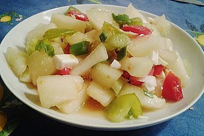 Tomatensalat mit Honigmelone und Schafskäse 25
