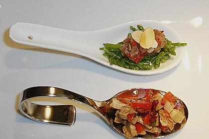 2 Amuses: Tatar vom Thunfisch auf Queller & Salat vom Zickleinbraten mit Zatar