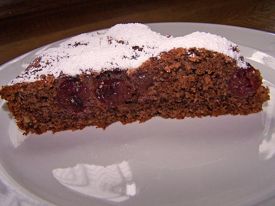 Schoko kirsch kuchen mit haselnussen