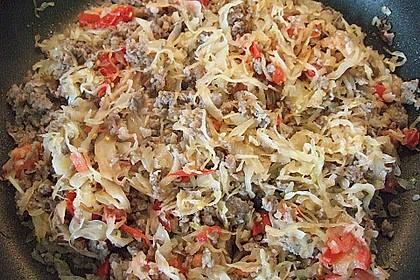 Paprika gefüllt mit Hack und Sauerkraut 4