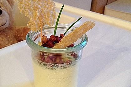 Spargel - Panna Cotta mit Käse - Schinken - Crackern 12