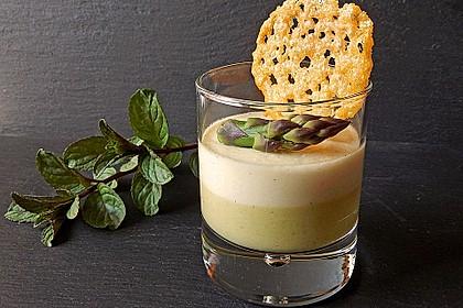 Spargel - Panna Cotta mit Käse - Schinken - Crackern