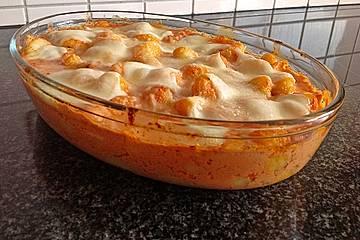 Gnocchi aus dem Ofen in Paprika-Tomaten-Sauce