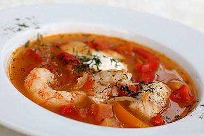 Paprika - Tomaten - Fischsuppe