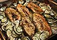 Wildlachs vom Blech auf Kartoffel - Zucchini - Gemüse