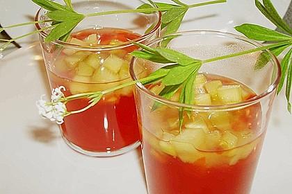 Erdbeer - Waldmeister - Gelee mit Rhabarber - Kompott