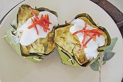 Gedämpftes Fischcurry im Bananenblatt 2