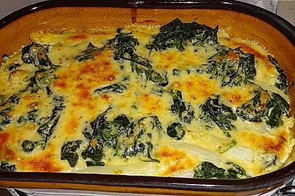 Spargel und Blattspinat mit Käse überbacken