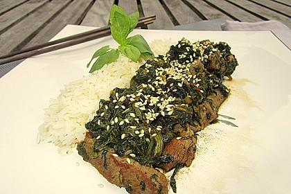 Schweinefleisch mit Spinat 2