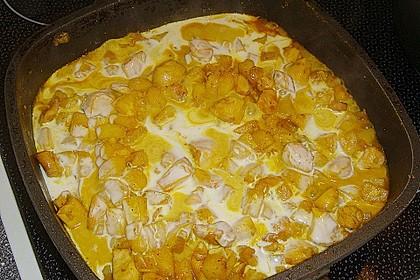 Hähnchen-Ananas-Curry mit Reis 90