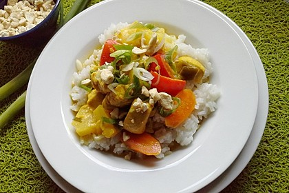 Hähnchen-Ananas-Curry mit Reis 12