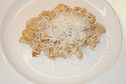 Speck - Birnen - Risotto mit Parmesanhaube