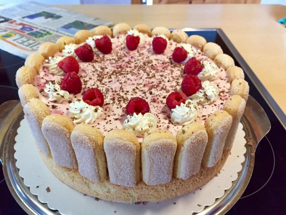 Quark Sahne Torte Mit Himbeeren