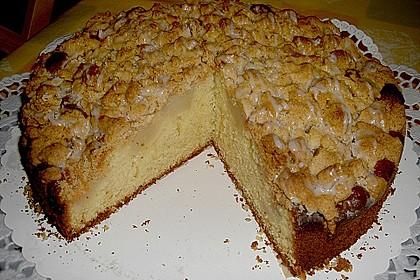 Sahne - Birnen - Kuchen mit Streuseln 7