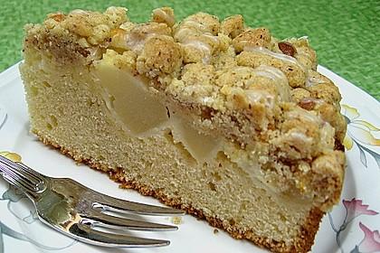 Sahne - Birnen - Kuchen mit Streuseln 3