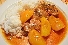 Bibis Schweinefilet mit Pfirsichen in dunkler Sauce