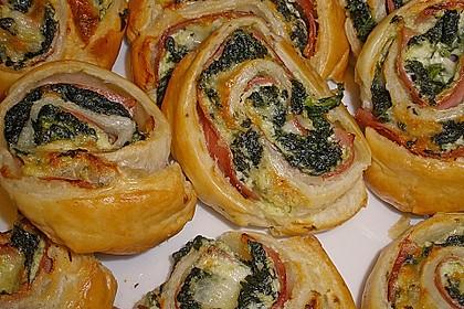 Blätterteigschnecken mit Spinat - Schinken - Füllung 1