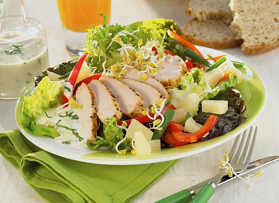h hnchen salat mit fruchtigem natreen dressing rezept. Black Bedroom Furniture Sets. Home Design Ideas