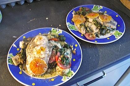 Lachsfilet auf Spinat und Mozzarella 2